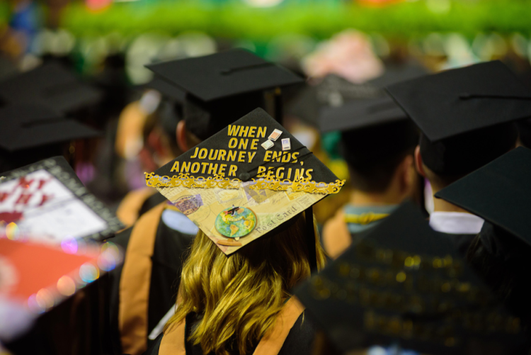 decorated grad cap: when one journey ends another begins